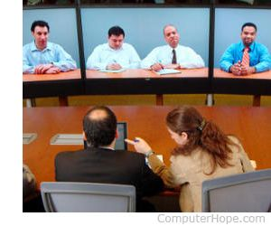 A video conference exemplifying the use of telepresence