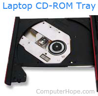 Laptop CD-ROM tray