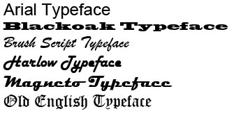 Typeface examples