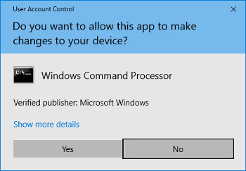 UAC or User Account Control dialog box