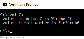 Example output of the vol command executed in the Windows 10 command prompt