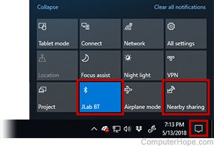 Screenshot: Bluetooth Quick Pairing and Nearby Sharing features can be accessed through new buttons in the Action Center.