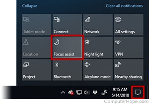 Screenshot: Focus Assist, formerly known as Quiet Hours, can be found in the Action Center.