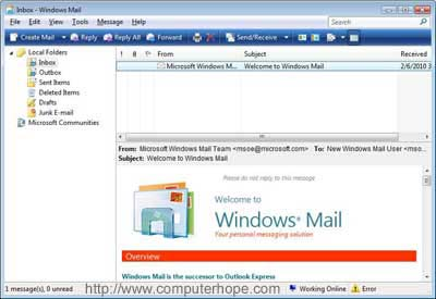 Where is Outlook Express in Windows Vista and 7?