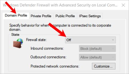 Disable or turn off Windows Defender Firewall