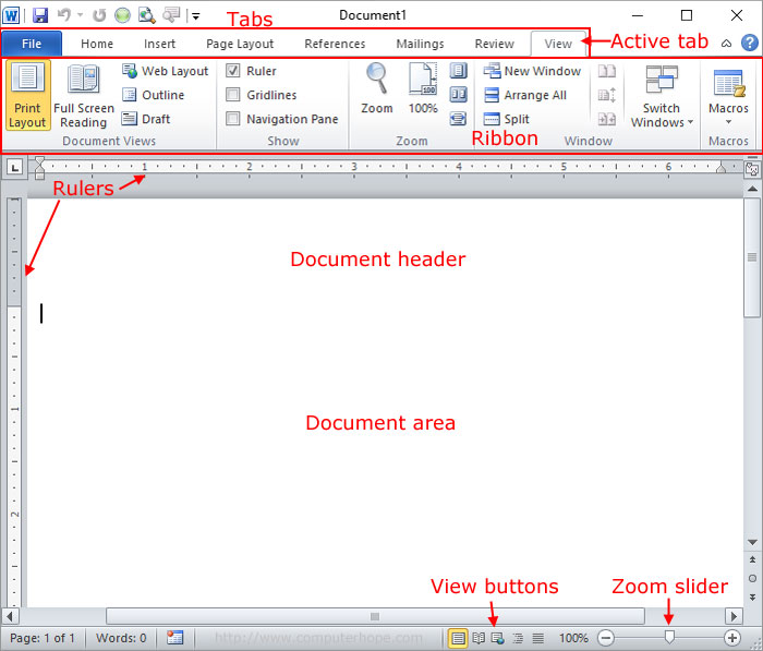 Microsoft Word document diagram