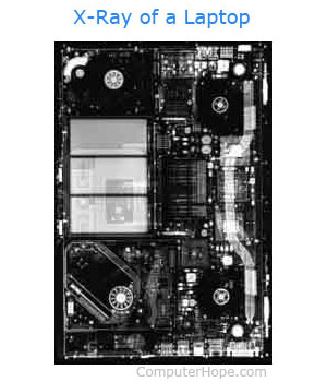 X-ray of laptop computer