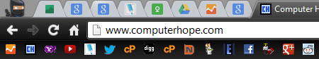 Only show the favicons in your Internet toolbar picture