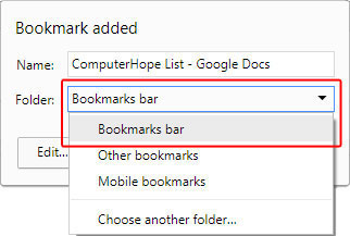 How to select the bookmarks bar option in Chrome.