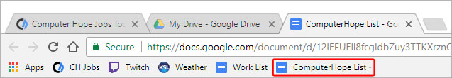 Example of the bookmarks bar in Google Chrome.