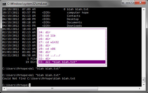View Windows command line history picture