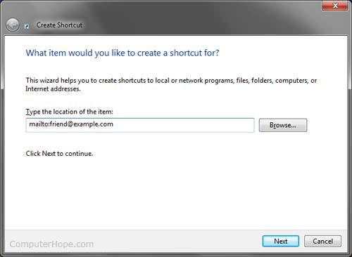 Create a Windows e-mail shortcut picture