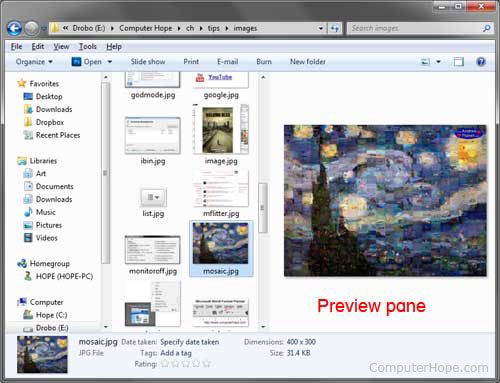 Turn on/off Windows Explorer preview pane picture