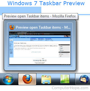 What is live taskbar preview