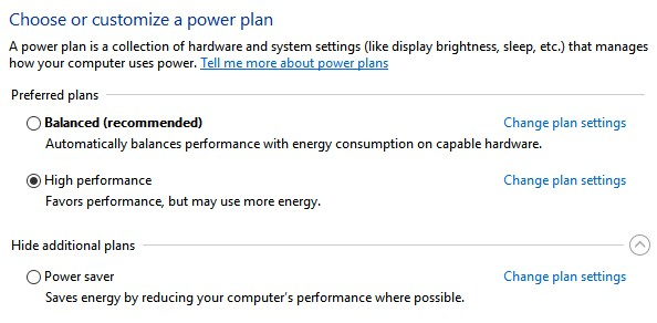 Windows power plan options