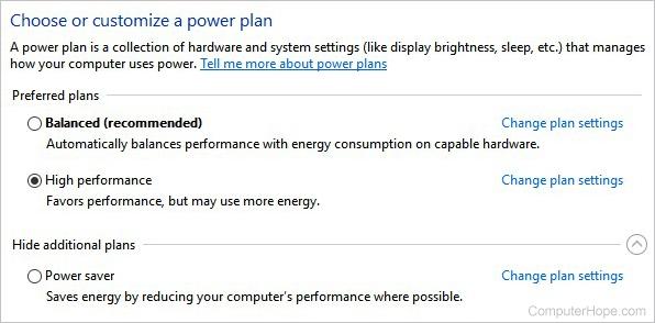 Windows power plan options