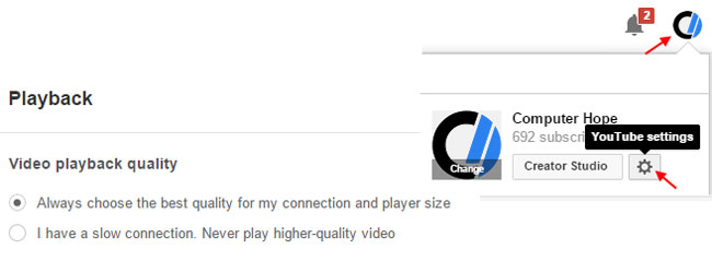 Change YouTube video quality